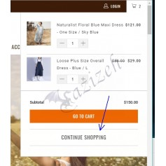 Continue Shopping Button in Cart Popup Window