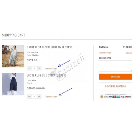 Remove Item From Cart Button